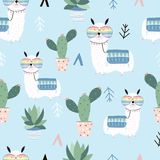 Hand drawn cute card with llama,glasses and cactus. llama not dr. Ama on blue background vector illustration