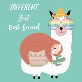 Hand drawn cute card with sloth,friend,watermelon,tree,llama,bed,moon and airplane.Different but best friend vector illustration