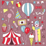 Hand Drawn Cute Carnival Clown Cartoon Vector Set Illustration. Cute hand drawn vector illustration of carnival theme Royalty Free Stock Image