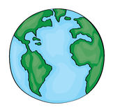 Hand drawn cute cartoon earth america Royalty Free Stock Photo
