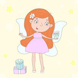 Hand Drawn cute cartoon Fairy with gifts, vector illustration Stock Images