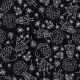 Seamless texture, children`s drawings background. black seamless pattern stock illustration