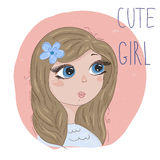 Hand Drawn cute cartoon little girl. vector print. stock illustration
