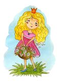 Hand Drawn cute cartoon little princes. Cute girl watercolor illustration. Royalty Free Stock Photography