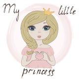 Hand Drawn cute cartoon little princes. vector print Stock Photos