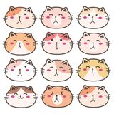 Hand Drawn Cute Cat Characters Set. Vector Illustration Royalty Free Stock Photo