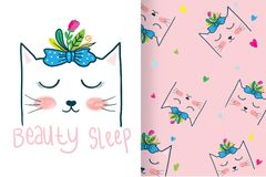 Hand drawn cute cat head, with editable patterns vector illustration