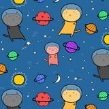 Hand Drawn Cute Cats Astronauts In The Space Pattern Background. Handmade Vector Illustration Stock Photography