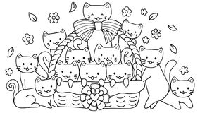 Hand drawn cute cats in basket for design element and coloring book page for kids stock illustration