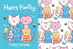 Hand drawn cute cats with editable patterns vector illustration