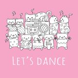 Hand drawn cute cats with friends dancing and playing music in the party with the slogan LET US DANCE for printed tee. Vector illu Stock Images