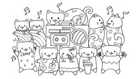Hand drawn cute cats listening and dancing to music for design element and coloring book page for kids. vector illustration