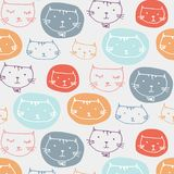 Hand Drawn Cute Cats Pattern Background. Vector Illustration vector illustration