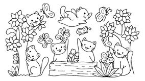 Hand drawn cute cats playing with butterfly in the forest,for design element and coloring book page.Vector illustrator. vector illustration