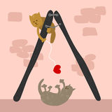Hand drawn cute cats playing with a heart. Royalty Free Stock Image