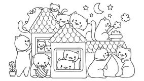 Hand Drawn Cute Cats Playing In The House At Night For