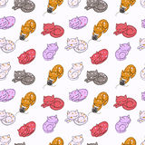 Hand drawn cute cats seamless pattern, colorful vector illustration Stock Photos