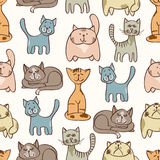 Hand drawn cute cats seamless pattern - pets seamless background. Vector illustration vector illustration