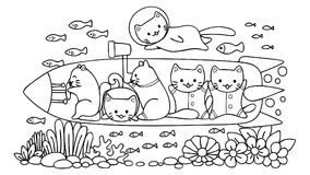 Hand drawn cute cats surveying under water world in submarine, for design element and coloring book page for kids.Vector illustrat Stock Images
