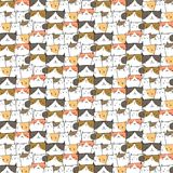Hand Drawn Cute Cats Vector Pattern Background. Doodle Funny. Handmade Vector Illustration vector illustration