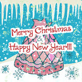 Hand drawn cute Chistmas card. With sack and snowflakes Stock Photos
