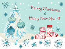 Hand drawn cute Chistmas card. With snowflakes Royalty Free Stock Photography