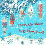 Hand drawn cute Chistmas card with tree. And snowflakes Royalty Free Stock Photo