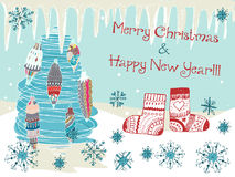 Hand drawn cute Chistmas card Royalty Free Stock Photos