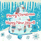 Hand drawn cute Chistmas card. With tree and snowflakes Stock Photography