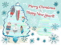 Hand drawn cute Chistmas card. With tree and snowflakes Royalty Free Stock Photos