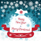 Hand drawn cute Christmas card with sack. Hand drawn cute Chistmas card with sack and snowflakes Stock Photos