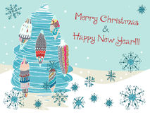 Hand drawn cute Christmas card. With tree and decorations Stock Photo