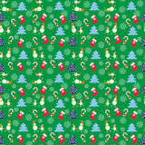 Hand drawn Cute Christmas Seamless Pattern with funny snowmen. Decorative Vector background Royalty Free Stock Images
