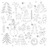 Hand Drawn Cute Christmas Sketch Set. Children Drawings of Snowman,  Fir Trees,  Candle, Toys, Angel, Stars and Snowflakes Stock Photos