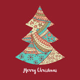 Hand drawn cute Christmas tree with doodles Royalty Free Stock Photography