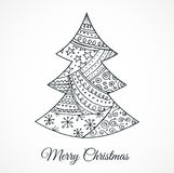 Hand drawn cute Christmas tree with doodles Stock Photography