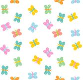 Hand Drawn Cute Colorful Butterflies Vector Pattern. White Background. Childish Simple Style. Abstract Multicolor Flying Butterfli royalty free illustration