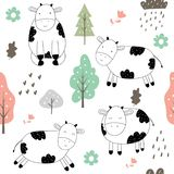 Hand drawn cute cow pattern vector illustration