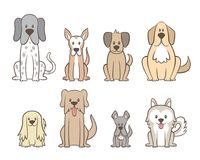 Hand drawn cute dogs collection. Collection of different kinds of dogs isolated on white background. Hand drawn dogs sitting in front view position. Vector stock illustration