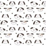 Hand Drawn Cute Dogs Pattern Background. Vector Illustration stock illustration