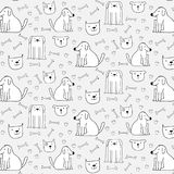 Hand Drawn Cute Dogs Pattern Background. Vector Illustration Royalty Free Stock Image