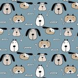 Hand Drawn Cute Dogs Pattern Background. Vector Illustration vector illustration