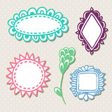 Hand drawn cute doodle frames. Vector set with colorful decoration.  Stock Image