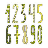 Hand drawn cute doodle mathematics numbers Royalty Free Stock Photos