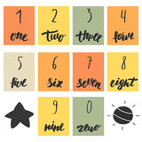 Hand drawn cute doodle mathematics numbers Royalty Free Stock Images