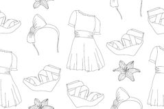 Hand drawn cute fashion seamless pattern Stock Photos