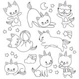 Hand drawn cute flying unicorn cats. Vector cartoon characters for kids coloring book. Cat unicorn drawing, pet with horn linear illustration vector illustration