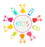 Hand-drawn Cute Funny Kids, Colorful Girls and Boys Stock Photography