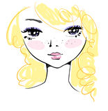 Hand-drawn cute girl face with messy blond hair, marker sketch Royalty Free Stock Photos