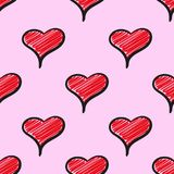 Hand drawn cute heart shapes seamless vector pattern. Hand drawn cute heart shapes seamless vector Stock Image